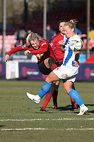 Mollie Green of Manchester United Women takes a shot at goal during Brighton & Hove Albion Women vs Manchester United Women, SSE Women's FA Cup Football at Broadfield Stadium on 3rd February 2019