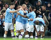 2nd November 2019; Etihad Stadium, Manchester, Lancashire, England; English Premier League Football, Manchester City versus Southampton; Kyle Walker of Manchester City celebrates with his team mates after scoring the winning goal after 86 minutes  - Strictly Editorial Use Only. No use with unauthorized audio, video, data, fixture lists, club/league logos or 'live' services. Online in-match use limited to 120 images, no video emulation. No use in betting, games or single club/league/player publications