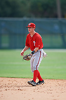 GCL Nationals second baseman Phil Caulfield (3) during the first game of a doubleheader against the GCL Marlins on July 23, 2017 at Roger Dean Stadium Complex in Jupiter, Florida.  GCL Nationals defeated the GCL Marlins 4-0.  (Mike Janes/Four Seam Images)