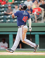 First baseman/infielder Chris Garcia (49) of the Rome Braves, Class A affiliate of the Atlanta Braves, in the second game of a doubleheader against the Greenville Drive on August 15, 2011, at Fluor Field at the West End in Greenville, South Carolina. (Tom Priddy/Four Seam Images)
