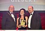 16-6-2019:  Emer Hartnett- Titanic- Portlaoise Musical Society,Laois winner of the Best Musical Director award at the annual AIMS (Association of Irish Musical Societies) in the INEC Killarney at the weekend receiving the trophy from Seamus Power, President, AIMS left and Rob Donnelly, Vice-President.<br /> Photo: Don MacMonagle - macmonagle.com<br /> <br /> repro free photo from AIMS<br /> <br /> AIMS PRESS RELEASE: There was plenty of glitz and glamour in Killarney on Saturday night as The Association of Irish Musical Societies has its Annual Awards Ceremony in Killarney. Over 1,500 people could be heard over the Kerry mountains as the winners were announced by MC Fergal D'Arcy. Many societies were double winners on the night including UCD Musical Society, Dublin were dancing all the way to the trophies winning Best Choreography and Best Choreographer for Leah Meagher for Cabaret and  Tullamore Musical Society who took their moment as Chris Corroon won Best Male Singer for his sinful performance as Henry Jekyll in Jekyll &Hyde and also Director Paul Norton who'd plenty to celebrate picking Best Director for  the same show. The moment was once again taken by Jekyll&Hyde by Dùn Laoighaire Musical&Dramatic Society as Kevin Hartnett took up Best Male Singer in the Sullivan category.Nenagh Youth Musical Society raised their voices high and took home Best Ensemble. It was a superior night for Enniscorthy Musical Society by winning Best Comedienne for Jennifer Byrne as Mother Superior and Best Technical too. Portlaoise Musical Society rose to the top by taking home Best Overall Show in the Gilbert section for their stunning production of Titanic. Oyster Lane Theatre Group, Wexford flew their flag high taking home Best Overall Show in the Sullivan Section for their breathtaking production of Michael Collins-a Musical Drama.<br /> Other winners on the night included Best Comedian for Ronan Walsh as Officer Lockstock in Urinetown for Trim Musical Society, Best Actress in a Supporting Role for  Roisin Law