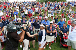 DES MOINES, IA - AUGUST 20: USA's Lizette Salas is interviewed following her match Sunday at the 2017 Solheim Cup in Des Moines, IA. Salas' half clinched the Solheim Cup for the USA team. (Photo by Dave Eggen/Inertia)