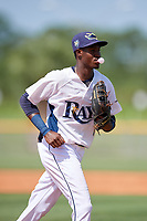GCL Rays center fielder Yunior Martinez (1) jogs back to the dugout during a game against the GCL Twins on August 9, 2018 at Charlotte Sports Park in Port Charlotte, Florida.  GCL Twins defeated GCL Rays 5-2.  (Mike Janes/Four Seam Images)