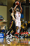 SIOUX FALLS, SD - MARCH 24: DeShaun Thrower #1 of Ferris State University attempts a three point basket during the Division II Men's Basketball Championship held at the Sanford Pentagon on March 24, 2018 in Sioux Falls, South Dakota. Ferris State University defeated Northern State University 71-69. (Photo by Tim Nwachukwu/NCAA Photos via Getty Images)