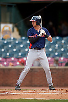 Rome Braves designated hitter Drew Lugbauer (15) at bat during a game against the Lexington Legends on May 23, 2018 at Whitaker Bank Ballpark in Lexington, Kentucky.  Rome defeated Lexington 4-1.  (Mike Janes/Four Seam Images)