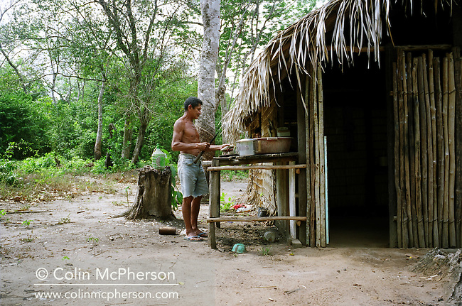 A man prepares fish for grilling next to his traditional reed hut in a forest clearing. The Floresta Nacional do Tapajos (FLONA), a 6500 km2 protected reserve, was home to several small communities which lived on the banks of the Rio Tapajos river. The communities did not have electricity or running water and access to the villages was by unpaved dirt roads from Santarem and Highway BR163.