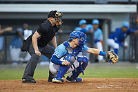 Burlington Royals catcher William Hancock (7) sets a target as home plate umpire West Hyer looks on during the game against the Danville Braves at Burlington Athletic Stadium on August 9, 2019 in Burlington, North Carolina. The Royals defeated the Braves 6-0. (Brian Westerholt/Four Seam Images)