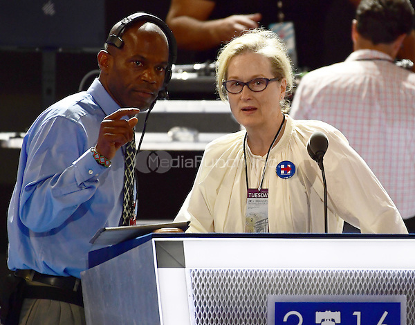 Actress Meryl Streep rehearses prior to her appearance at the second session of the 2016 Democratic National Convention at the Wells Fargo Center in Philadelphia, Pennsylvania on Tuesday, July 26, 2016.<br /> Credit: Ron Sachs / CNP/MediaPunch<br /> (RESTRICTION: NO New York or New Jersey Newspapers or newspapers within a 75 mile radius of New York City)