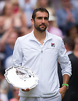 Marin Cilic (7) of Croatia after his defeat to Roger Federer (3) of Switzerland in their Gentlemen's Singles Final - Federer def Cilic 6-3, 6-1, 6-4<br /> <br /> Photographer Ashley Western/CameraSport<br /> <br /> Wimbledon Lawn Tennis Championships - Day 13 - Sunday 16th July 2017 -  All England Lawn Tennis and Croquet Club - Wimbledon - London - England<br /> <br /> World Copyright &not;&copy; 2017 CameraSport. All rights reserved. 43 Linden Ave. Countesthorpe. Leicester. England. LE8 5PG - Tel: +44 (0) 116 277 4147 - admin@camerasport.com - www.camerasport.com