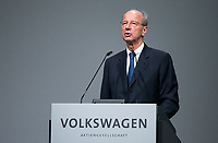 03 May 2018, Germany, Berlin: Hans Dieter Poetsch, chairman of the supervisory board at Volkswagen AG, speaking at the Volkswagen AG annual general meeting at the Messegelaende in Berlin. Photo: Bernd von Jutrczenka/dpa /MediaPunch ***FOR USA ONLY***