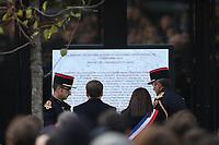 EMMANUEL MACRON (PRESIDENT), ANNE HIDALGO (MAIRE DE PARIS) - CEREMONIE D'HOMMAGE AUX VICTIMES DE L'ATTENTAT DU BATACLAN A PARIS, FRANCE, LE 13/11/2017.