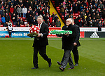 Tony Currie and Len Badger lay wreaths for Martyn Harrison and Alan Hodgkinson - English League One - Sheffield Utd vs Coventry City - Bramall Lane Stadium - Sheffield - England - 13th December 2015 - Pic Simon Bellis/Sportimage-