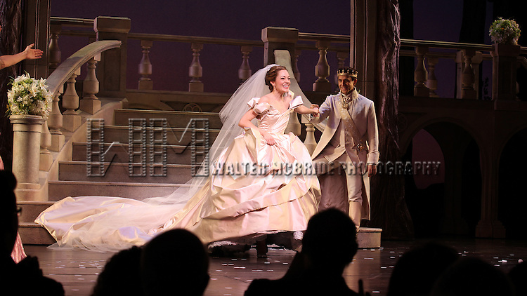 Laura Osnes & Santino Fontana during The Broadway Opening Night Performance Curtain Call for  'Rogers + Hammerstein' s Cinderella' at the Broadway Theatre in New York City on 3/3/2013