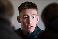 Josh Adams of Wales gives an interview at Vale Resort, Hensol, Wales on 7 March 2019, ahead of his side's Guinness Six Nations rugby match against Scotland. Photo by Mark Hawkins.