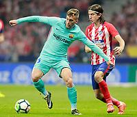 Atletico de Madrid's Filipe Luis (r) and FC Barcelona's Gerard Deulofeu during La Liga match. October 14,2017.  *** Local Caption *** © pixathlon +++ tel. +49 - (040) - 22 63 02 60 - mail: info@pixathlon.de