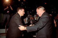 Montreal (Qc) CANADA - 1995 File Photo - April 1995 - Bloc Quebecois convention,Lucien Bouchard (L) and PQ Leader Jacques Parizeau (R)
