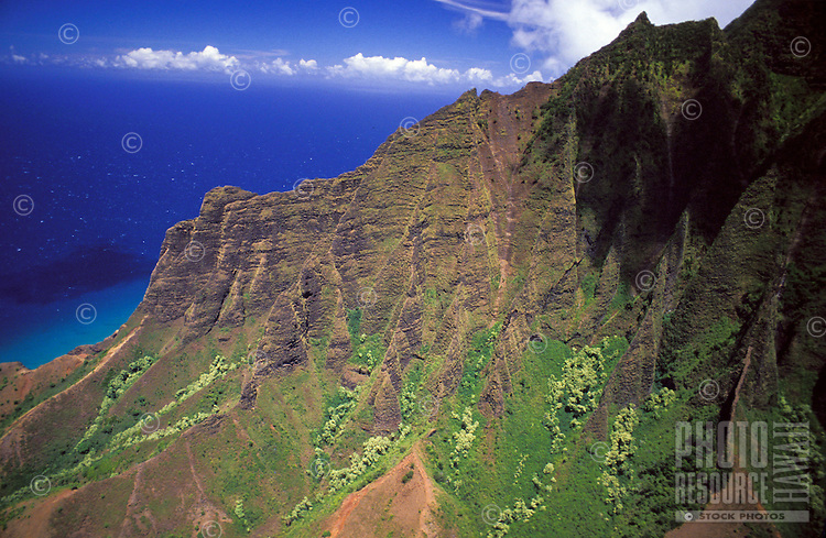 Kalalau Valley, east side, Na Pali Coast State Park, aerial photo.