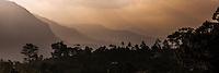 Haputale, panoramic photo of a misty mountain sunrise in the Sri Lanka Hill Country, Nuwara Eliya District, Sri Lanka, Asia. This is a panoramic photo of a misty mountain sunrise at Haputale in the Sri Lanka Hill Country, Nuwara Eliya District, Sri Lanka, Asia.