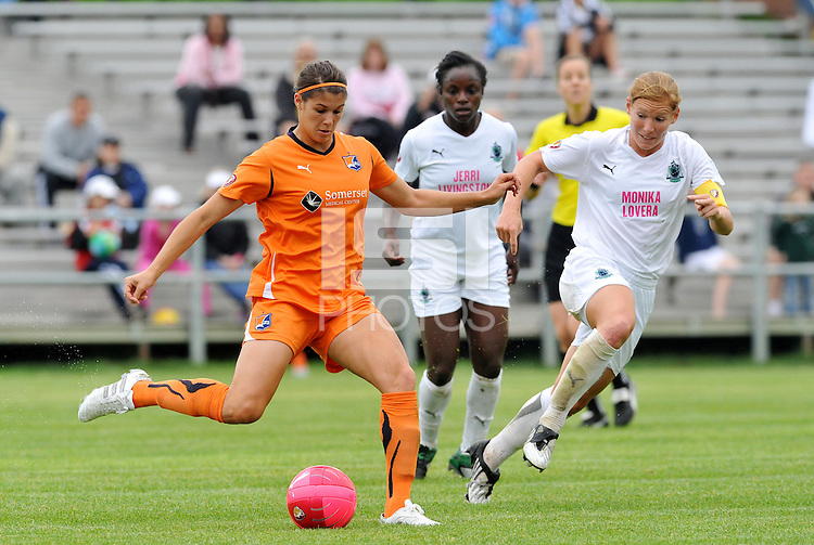 Brittany Taylor...Saint Louis Athletica and Sky Blue FC played to a 2-2 tie at Anheuser-Busch Soccer Park, Fenton, MO...Athletica wore white / pink uniforms in support of breast cancer awareness.
