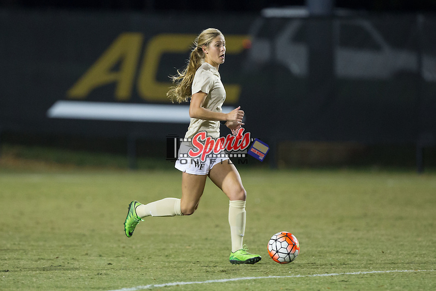 Sarah Teegarden (7) of the Wake Forest Demon Deacons controls the ball during first half action against the Louisville Cardinals at Spry Soccer Stadium on October 31, 2015 in Winston-Salem, North Carolina.  The Demon Deacons defeated the Cardinals 2-1.  (Brian Westerholt/Sports On Film)
