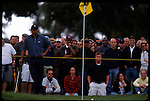 Tiger Woods reacts to his shot off the fairway at the Genuity Open at Doral in Miami, Fl.