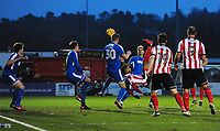 Lincoln City's Matt Green, under pressure from Notts County's Jonathan Stead, attempts an over-head kick<br /> <br /> Photographer Chris Vaughan/CameraSport<br /> <br /> The EFL Sky Bet League Two - Lincoln City v Notts County - Saturday 13th January 2018 - Sincil Bank - Lincoln<br /> <br /> World Copyright &copy; 2018 CameraSport. All rights reserved. 43 Linden Ave. Countesthorpe. Leicester. England. LE8 5PG - Tel: +44 (0) 116 277 4147 - admin@camerasport.com - www.camerasport.com
