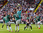 Jack O'Connell of Sheffield Utd tussles with Henrik Dalsgaard and Daniel Bentley of Brentford  during the English championship league match at Bramall Lane Stadium, Sheffield. Picture date 5th August 2017. Picture credit should read: Jamie Tyerman/Sportimage