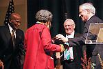 Jeremy Travis congradulates Marian Wright Edelman for her Justice Award, at the John Jay Justice Award ceremony, April 5 2011.