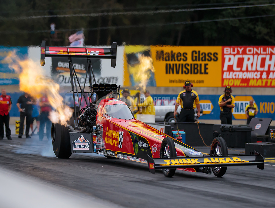 Sep 14, 2018; Mohnton, PA, USA; NHRA top fuel driver Brittany Force during qualifying for the Dodge Nationals at Maple Grove Raceway. Mandatory Credit: Mark J. Rebilas-USA TODAY Sports