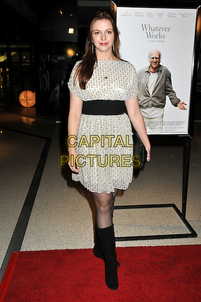 "AMBER TAMBLYN.""Whatever Works"" Los Angeles Premiere held at the Pacific Design Center, West Hollywood, CA, USA..June 8th, 2009.full length black dress white grey gray blue print clutch bag pattern dress sash.CAP/ADM/BP.©Byron Purvis/AdMedia/Capital Pictures."