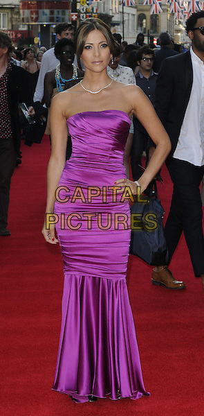 Anouska Mond.The 'Ill Manors' UK film premiere, Empire cinema, Leicester Square, London, England..May 30th, 2012.full length purple strapless fishtail dress silk satin hand on hip.CAP/CAN.©Can Nguyen/Capital Pictures.
