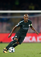 Football Soccer: UEFA Champions League Napoli vs Mabchester City San Paolo stadium Naples, Italy, November 1, 2017. <br /> Manchester City's Fernandinho in action during the Uefa Champions League football soccer match between Napoli and Manchester City at San Paolo stadium, November 1, 2017.<br /> UPDATE IMAGES PRESS/Isabella Bonotto