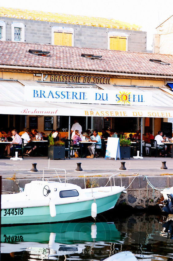 The old harbour. Brasserie du Soleil. Marseillan. Languedoc. France. Europe.