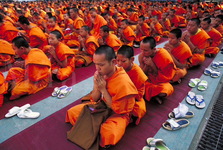 Rows of young monks in orange robes are sitting in prayer. Strong diagonal elements. Chiang Mai, Thailand. Chiang Mai, Thailand.