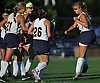Sarah Whelan #19 of Massapequa, right, celebrates with teammates after scoring a goal against Baldwin in the first half of a Nassau County Conference I varsity field hockey match at Field of Dreams Park in Massapequa on Monday, Sept. 26, 2016. She tallied two goals in Massapequa's 5-0 win.