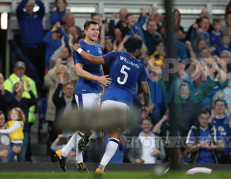 Michael Keane of Everton celebrates scoring the first goal  during the Europa League Qualifying Play Offs 1st Leg match at Goodison Park Stadium, Liverpool. Picture date: August 17th 2017. Picture credit should read: David Klein/Sportimage