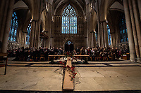 Pictured: Interior view of York Minster during the service. Sunday 11 November 2018<br /> Re: Commemoration for the 100 years since the end of the First World War on Remembrance Sunday at York Minster, England, UK