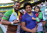 Aviva Premiership Final .Twickenham, England. James Johnston of Harlequins with his brother Census of Toulouse at the AVIVA Premiership Final between Harlequins and Leicester Tigers at Twickenham Stadium on May 26, 2012 in London, United Kingdom.