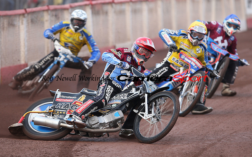 Heat 1: Lee Richardson (red), Lukas Dryml (yellow), Matej Zagar (white) and Kauko Nieminen (blue) - Lakeside Hammers vs Eastbourne Eagles, Elite League Speedway at the Arena Essex Raceway, Purfleet - 25/06/10 - MANDATORY CREDIT: Rob Newell/TGSPHOTO - Self billing applies where appropriate - 0845 094 6026 - contact@tgsphoto.co.uk - NO UNPAID USE.