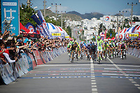 Elia Viviani (ITA/Cannondale) beats Mark Cavendish (GBR/OPQS) on the finish line<br /> <br /> Tour of Turkey 2014<br /> stage 5