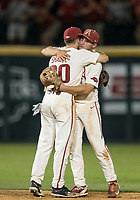 NWA Democrat-Gazette/BEN GOFF @NWABENGOFF<br /> Carson Shaddy, Arkansas second baseman, and Jax Biggers, Arkansas shortstop, celebrate Saturday, June 9, 2018, after defeating South Carolina 9-3 in game one of the NCAA Super Regional at Baum Stadium in Fayetteville.