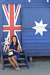 Na Li (CHN), women's champion of the 2014 Australian Open, celebrates with her trophy in Melbourne Australia on January 25, 2014.