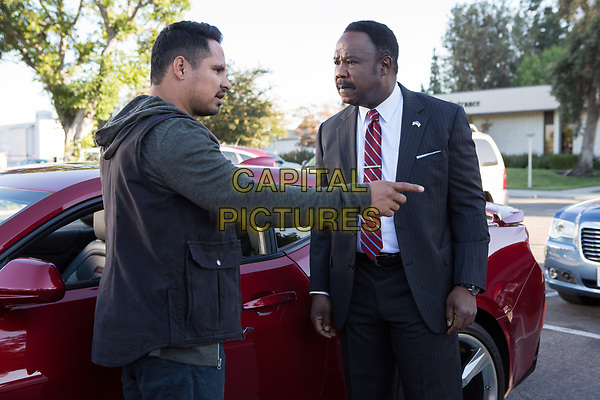 CHIPS (2017)<br /> MICHAEL PENA as Ponch and ISIAH WHITLOCK JR. as Peterson <br /> *Filmstill - Editorial Use Only*<br /> FSN-K<br /> Image supplied by FilmStills.net