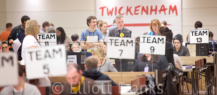 General Election count for the Twickenham &amp; Richmond Park constituencies at the Twickenham Rugby Stadium, Twickenham, Middlesex, Great Britain <br /> 8th June 2017 <br /> <br /> Atmosphere in the counting room <br /> <br /> Photograph by Elliott Franks <br /> Image licensed to Elliott Franks Photography Services
