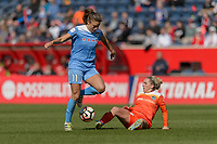 Bridgeview, IL - Saturday May 06, 2017: Sofia Huerta, Camille Levin during a regular season National Women's Soccer League (NWSL) match between the Chicago Red Stars and the Houston Dash at Toyota Park. The Red Stars won 2-0.