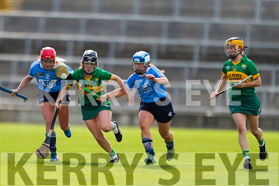 2128 Jessica Fitzell, Kerry, challenged by Ciara Buchanan and Grainne Free, Dublin in the Camogie All Ireland Semi Finals at The Gaelic Grounds Limerick on Saturday.