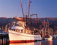 Commercial fishing boats in Santa Barbara harbor. California.