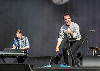 Frontman Samuel T Herring of Future Islands with the Band during British Summertime Music Festival at Hyde Park, London, England on 18 June 2015. Photo by Andy Rowland.