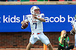 Southern Methodist Mustangs quarterback Shane Buechele (7) in action during the game between the UNT Mean Green and the SMU Mustangs at the Gerald J. Ford Stadium in Fort Worth, Texas.