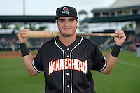 Jupiter Hammerheads second baseman Avery Romero (10) poses for a photo before a game against the Bradenton Marauders on April 18, 2015 at McKechnie Field in Bradenton, Florida.  Bradenton defeated Jupiter 4-1.  (Mike Janes/Four Seam Images)